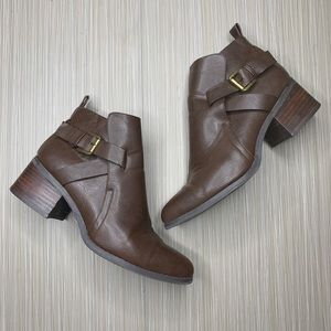 MIA Nahira Brown Pointed Ankle Booties
